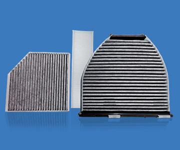 Tres presentaciones de filtros con carbón activado de la marca MANN FILTER